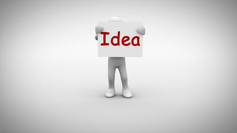 White character holding sign saying idea Animation