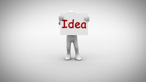 White character holding sign saying idea Animation