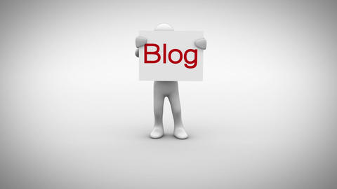 White character holding sign saying blog Animation