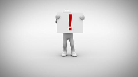 White character holding sign saying exclamation mark Animation