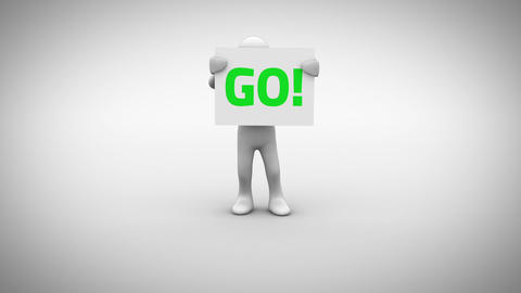 White character holding sign saying go Animation