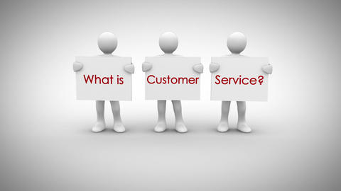 White characters showing signs saying what is customer service Animation