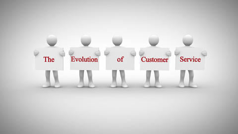 White characters showing signs saying the evolution of customer service Animation