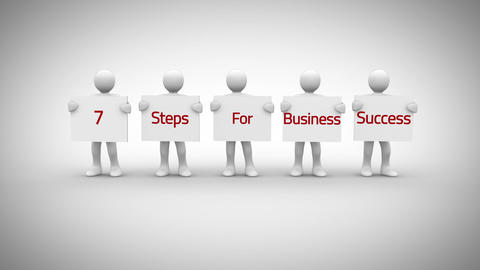 White characters showing signs saying 7 steps for business success Animation