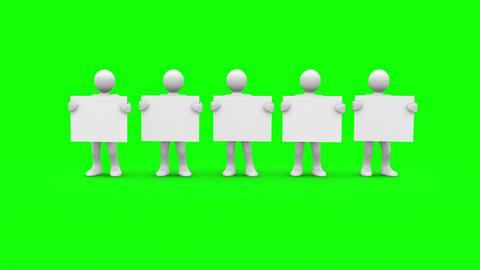 White characters showing blank signs on green screen Animation