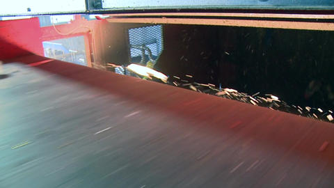 Slo-mo Of Red Waste Facility Conveyor (4 Of 9) stock footage