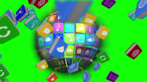 Falling computer app icon tiles with globe Animation