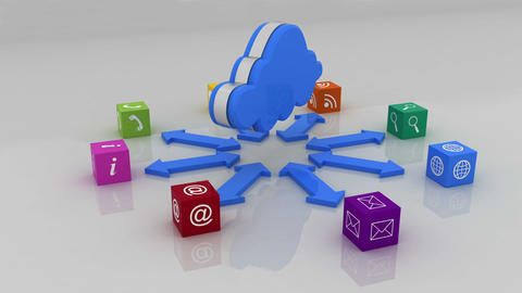 Cloud with computer application cubes, Stock Animation