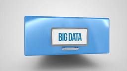 Big data filing drawer on white background Stock Video Footage