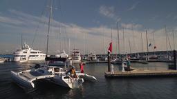 Catamaran coming ashore (1 of 2) Footage