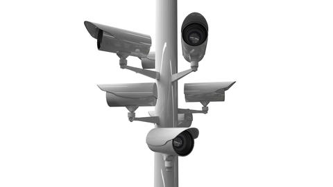 CCTV cameras against white background Animation