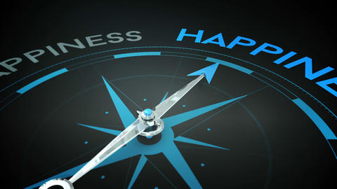 Compass pointing to happiness Animation