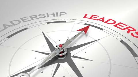 Compass pointing to leadership Animation