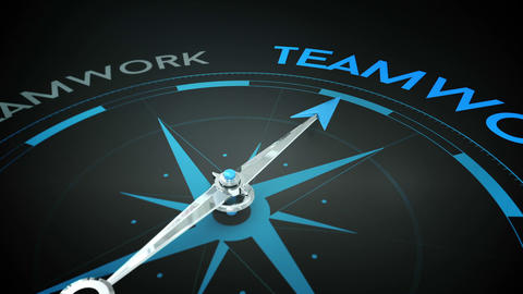 Compass pointing to teamwork Animation