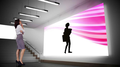 Businesswoman looking at shopping animation Animation