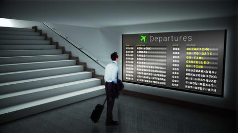 Businessman looking at departures board Animation