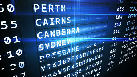 Departures board for australian cities Animation