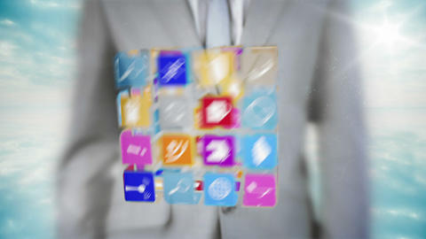 Businessman interacting with app interface Animation