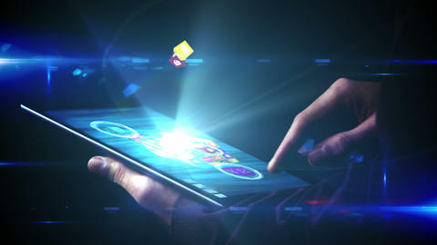 Businessman using tablet to view holographic apps Animation