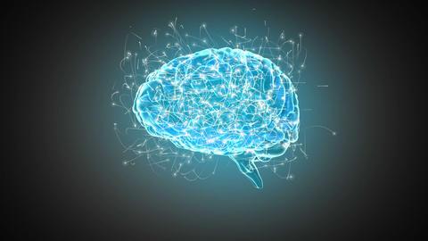 Brain spinning on grey background, Stock Animation