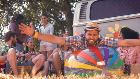 In high quality format hipsters having fun in their campsite Footage