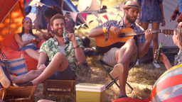 In high quality format pretty hipster relaxing on campsite Footage