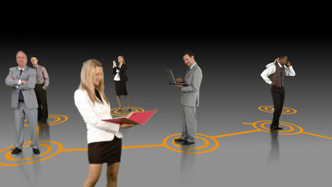 Business people connecting on grey background Animation