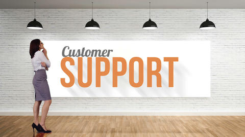 Businesswoman viewing customer support clip Animation