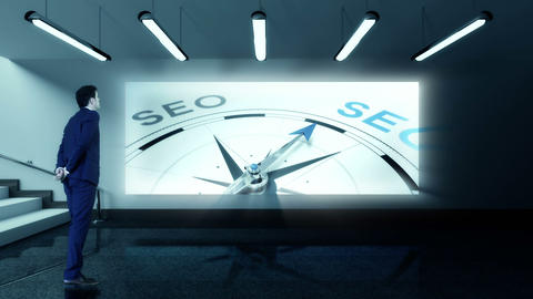 Businessman viewing seo compass clip Animation