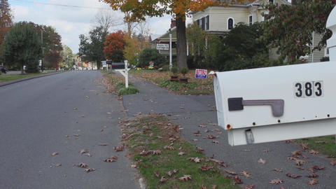 Mailbox and street in residential neighborhood (1 of 2) Footage