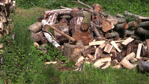 zoom out of axe stuck to stump near to woodpile and woodshed Footage