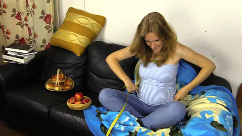 Pregnant woman measure her stomach tummy with tape tool Footage