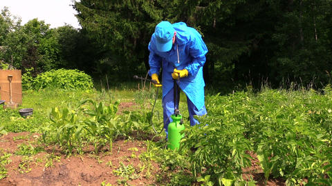 Farmer man in waterproof clothes prepare pesticides chemicals Footage