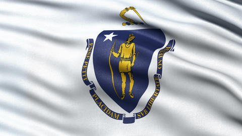 4K Massachusetts state flag seamless loop Ultra-HD Animation
