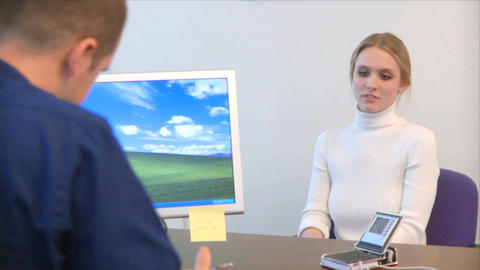 Professional Female Speaks with a Co-worker (11 of 12) Footage