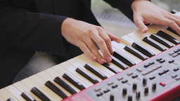 Playing The Digital Keyboard stock footage