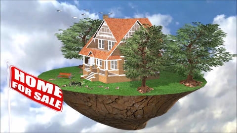 Property Promotion House For Sale Flag Animation Footage