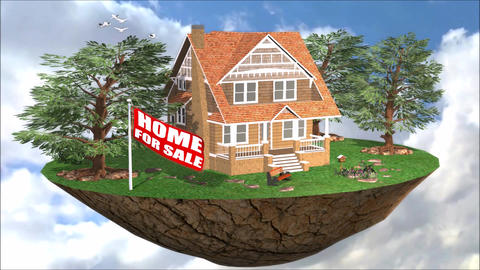 Property Promotion Finance Loan House For Sale Flag Animation stock footage