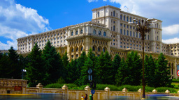 Romanian Parliament Or People's House In Bucharest, Romania.Time Lapse,Zoom In stock footage