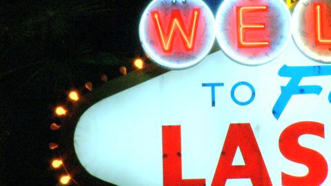 Detail Shot Of Las Vegas Sign stock footage