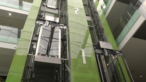Modern Elevator At Shopping Mall stock footage