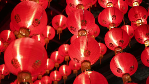 Chinese Red Lanterns At Night stock footage