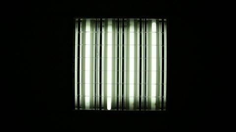 Fluorescent light turning on Footage