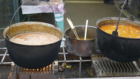 Outdoor Cauldrons with Food Footage