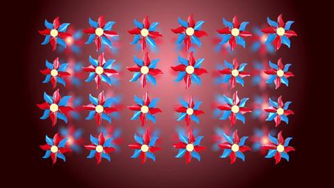 3D pinwheel rotation red Animation