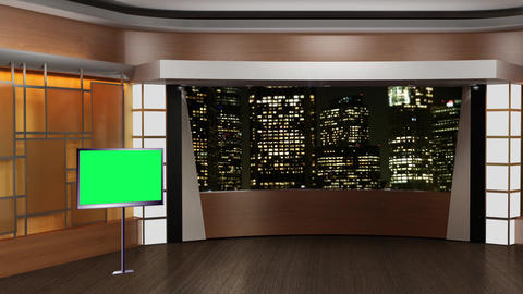 News TV Studio Set 84 Virtual Green Screen Background Loop Live Action