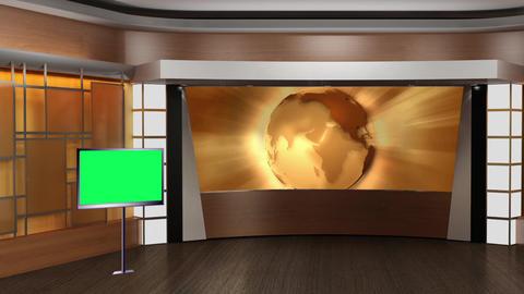 News TV Studio Set 85 Virtual Green Screen Background Loop stock footage