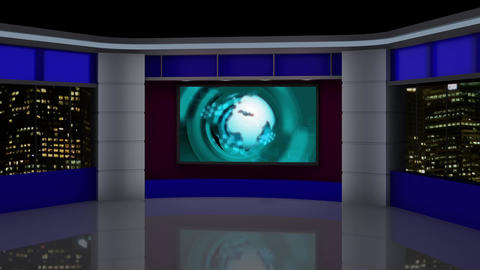 News TV Studio Set 86 Virtual Green Screen Background Loop stock footage