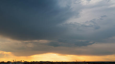 Dramatic Sky over the City. Time Lapse 4K Footage