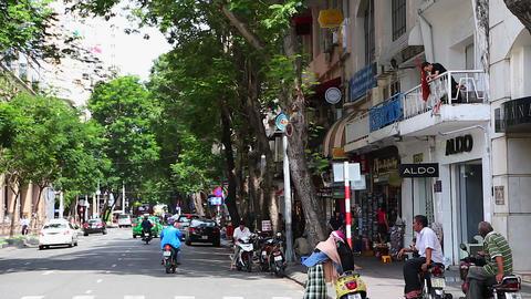 establishing tilt - french street dong khoi - vietnam Footage